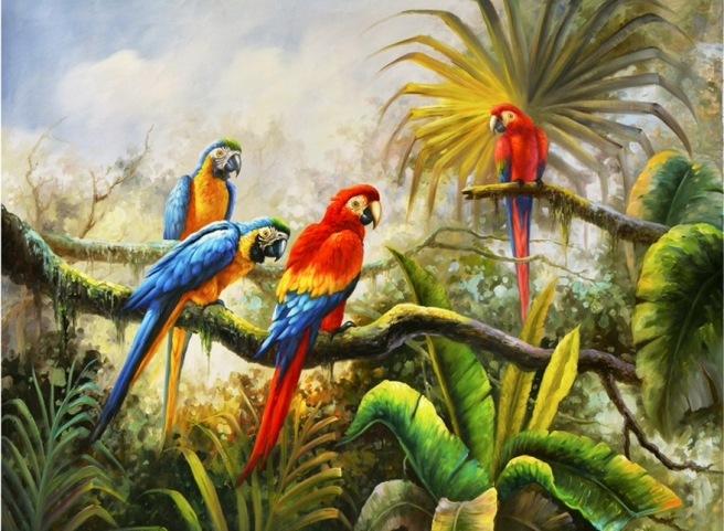 free-shipping-impression-animal-parrot-jungle-tree-landscape-oil-painting-canvas-painting-prints-on-canvas-decoration